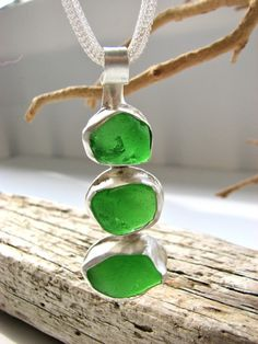 "Emerald Green Sea Glass and Sterling Silver necklace, Sea Glass Necklace, 18"" Sterling Silver Mesh Chain $140"