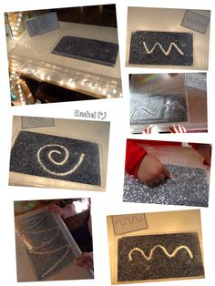 "Mark-making pattern cards and glitter on the lightbox (link to free cards included) - from Rachel ("",) Montessori Activities, Motor Activities, Activities For Kids, Reggio Emilia, Diy Light Table, Funky Fingers, Free Cards, Outdoor Classroom, Pre Writing"