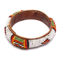 Africa | Leather and glass bead bracelet from the Hausa people of Niger | 20th century