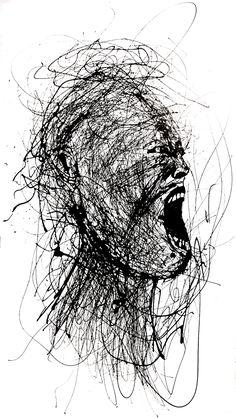 Actionpainting| Arte Horror, Horror Art, Drip Art, Scribble Art, Dark Art Drawings, Aesthetic Drawing, Life Drawing, Portrait Art, Black Art