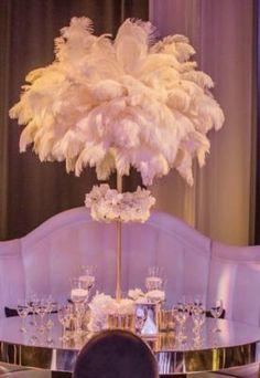 Vintage Inspired White Ballroom Wedding Reception Centerpiece