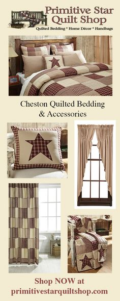 Our Cheston quilt collection is sure to give your bedroom the primitive country . - Our Cheston quilt collection is sure to give your bedroom the primitive country makeover you have b - Primitive Bedding, Primitive Curtains, Primitive Quilts, Rustic Quilts, Primitive Stars, Primitive Bathrooms, Primitive Homes, Primitive Antiques, Country Bathrooms