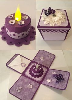 ideas for birthday box gift tea lights Boite Explosive, Exploding Gift Box, Birthday Cards For Friends, Birthday Box, Birthday Explosion Box, Light Crafts, Pop Up Cards, Diy Cards, Tea Lights