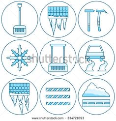 Equipment Icon Cleaning Roofs From Snow, Icicles And Ice. Dangerous Road In The Storm Of Snow In The City. Snow Removers - stock vector