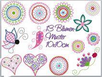 13 Blumenmuster  von 3 bis 10cm STICKDATEIEN