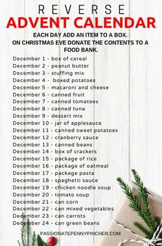 Reverse advent calendar: collect an item each day to donate to the food pantry! Reverse Advent Calendar, Advent Calendar Fillers, Advent Calendar Activities, Advent Calenders, Diy Advent Calendar, Christmas Activities, Christmas Traditions, Holiday Fun, Christmas Holidays