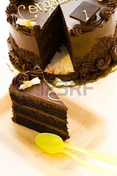 Gourmet chocolate cake decorated for graduation party. Stock Photo - 18281124