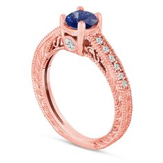 Blue Sapphire And Diamonds Engagement Wedding Ring 14K Rose Gold Certified Handmade Vintage Style