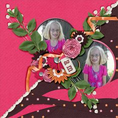 Beautiful Flowers Template pack, from Angelique's Scraps! Found here, http://scrapfromfrance.fr/shop/index.php?main_page=product_info&cPath=88_246&products_id=7579&zenid=2750556b50a3d6769fecc05c0e0b9bb6 Kit is Little Girl,  By Marie H Designs, at Daisies & Dimples Store