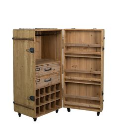 Old wood storage box on roller revisited in mini bar for storage bottles and glasses Storage Cabinets, Tall Cabinet Storage, Locker Storage, Wall Cupboards, Paint Storage, Lounge Design, Dining Room Furniture, Home Furniture, Armoire Bar