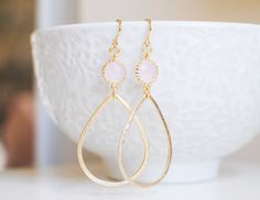 Amberlie Earrings - Gold/Pink (Round)