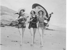 Frolicsome Trio of American Bathing Beauties Wearing the Latest Swimsuit Costumes Premium Photographic Print