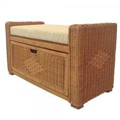 Rattan Wicker Chest Storage Ottoman Eva Color Light Brown w/Cushion Rattan Furniture, Home Furniture, Outdoor Furniture, Outdoor Decor, Petite Outfits, Light Colors, Storage Chest, Cushions, Ottomans
