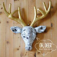 Cardboard, deer, head, tutorial, paper mache, spray, diy, easy