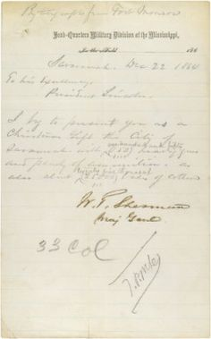 Telegram from General William T. Sherman to President Abraham Lincoln announcing the surrender of Savannah, Georgia, as a Christmas present to the President