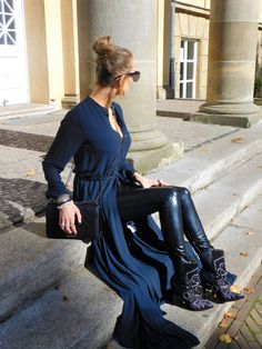 SHADES OF K by Karen  wearing black embellished boots, winter boots, Isabel Marant vibes