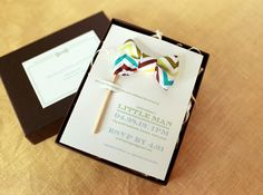 Little Man Bow Tie  Melissa & Amy from Atheneum Creative designed these Baby shower invitations, with lovely mini bow ties into each invitation. I love them!