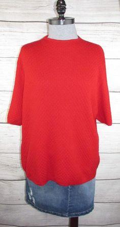 54b30bbe0582c PENDLETON womens Sweater 2X XXL Red 100% Merino Wool Short Sleeve Top  Classic  Pendleton  PulloverSweater  Any