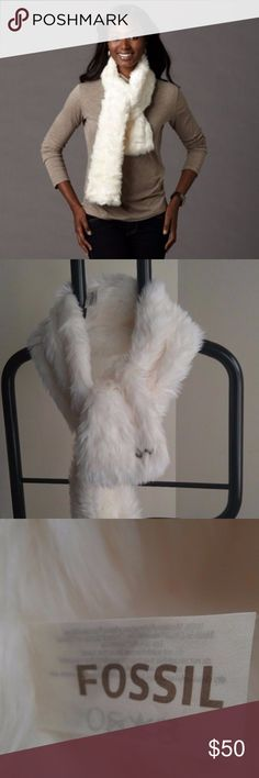 Fossil Scarf Fossil Womens One Size Ivory Faux Fur Isa Scarf. Gently used with no flaws. Please see photos for exact details. Thank you for patronizing us. Fossil Accessories Scarves & Wraps