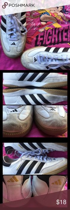 """Get Movin Adidas slogan """"Impossible is nothing""""  We've have here right and left shoes. Adidas leather upper in white adding black side stripes and heel tip.  Rubber soles and the Adidas quality!  Used item please see images  """"Impossible is nothing"""". Adidas Shoes Sneakers"""