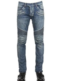 BALMAIN, painted denim biker jeans, Blue, Luisaviaroma - Concealed hook and zip fly closure. Mens Destroyed Jeans, Ripped Jeans Men, Blue Skinny Jeans, Blue Jeans, Sexy Jeans, Men's Jeans, Biker Wear, Balmain Jeans, Discount Mens Clothing
