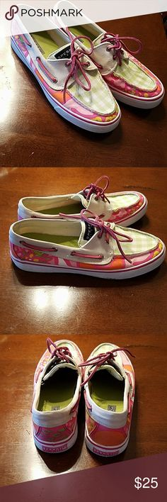 SPERRY TOP-SIDER RARE LILLY PULLITZER STYLE PRINT RARE HARD TO FIND, SPERRY TOP-SIDER LILLY PULLITZER STYLE PRINT. ADORABLE SHOES. GOES WITH LILLY PULITZER PERFECTLY. THEY ARE SMOKE FREE. MY FAVORITE SPERRY TOP-SIDER FABRIC EVER. THE LACES COULD BE REPLACED. Sperry Top-Sider Shoes