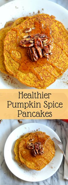 Healthier pumpkin spice pancakes are made gluten free and lightened up a bit by using better-for-you ingredients.