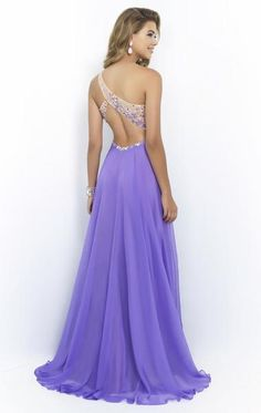 Chiffon,A Line,Embellishment Backless One Shoulder Crystal/Beading,#Sweetheart Neckline & Small Cut Out Sleeveless, #Prom, #Homecoming,#Evening #Women #Dresses