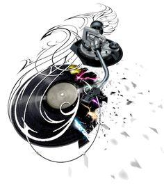 DJ tattoo by NeoGzus on DeviantArt Music Tattoo Designs, Music Tattoos, Cool Tattoos, Tatoos, Tattoo Musica, Dj Tattoo, Headphones Tattoo, Dj Headphones, Music Tattoo Sleeves