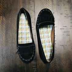 eaeb4f772b7 Lands End Black Leather Suede Fringe Moccasin Style Womens Size 8 New   fashion  clothing
