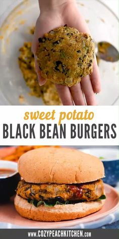 These vegetarian sweet potato burgers are the perfect weeknight dinner recipe-- and they are so easy to make! Tasty Vegetarian Recipes, Vegetarian Recipes Dinner, Vegan Dinners, Easy Healthy Recipes, Whole Food Recipes, Healthy Snacks, Cooking Recipes, Vegetarian Burgers, Weeknight Dinners