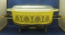 Pyrex Yellow & Gold 2 1/2 Qt. Casserole, Lid, & Candle Warmer Stand
