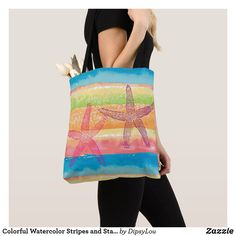 Shop Colorful Watercolor Stripes and Starfish Tote Bag created by DipsyLou. Paint Stripes, Summer Accessories, Edge Design, Starfish, Colorful, Watercolor, Tote Bag, Sewing, How To Make