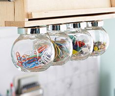 Get Creative with Unexpected Storage Solutions Home Office Storage Store and display small office supplies, such as paper clips and pushpins, in these hanging glass bulbs. Simply unscrew the bulb from the lid and throw in your supplies for easy storage. Baby Food Jar Crafts, Baby Food Jars, Food Baby, Baby Jars, Baby Foods, Craft Organization, Craft Storage, Easy Storage, Storage Jars