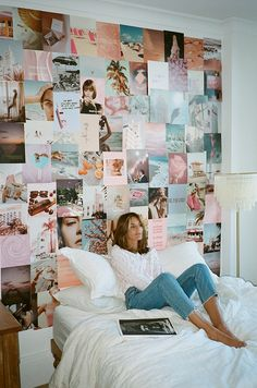 Our first ever half-sized kit comes with 75 full- page prints full of dreamy hues and ethereal images . Cute Bedroom Decor, Teen Room Decor, Room Ideas Bedroom, Wall Decor, Photowall Ideas, Dorm Room Walls, Neon Room, Cute Room Ideas, Bedroom Wall Collage