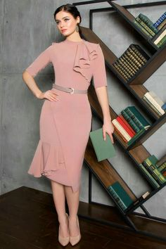 The second one, pink dress, high collar, with chiffon ruffled 🌸💓💓💓 . Simple Dresses, Pretty Dresses, Beautiful Dresses, Short Dresses, Formal Dresses, Fashion Wear, Modest Fashion, Fashion Dresses, Womens Fashion