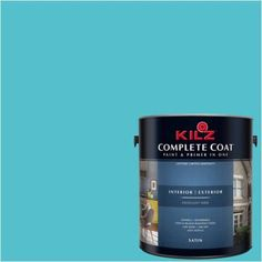 Kilz Complete Coat Interior/Exterior Paint & Primer in One, #RF140-01 Quiet Sea, Blue