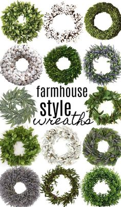 14 Farmhouse Style Wreaths Shop all the wreaths above with my affiliate links: southern magnolia wreath [HERE] lemon leaf wreath [HERE] small magnolia leaf wreath [HERE] preserved boxwood wreath [HERE] Solid cotton wr… Olive Wreath, Green Wreath, Farmhouse Style, Farmhouse Decor, Farmhouse Front, Country Style, Farmhouse Faucet, Willow Wreath, Preserved Boxwood