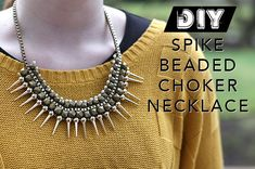 DIY Spike Beaded Woven Choker Necklace | Chic Steals