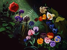 So much love for Mary Blair! You can learn a lot of things from the flowers For especially in the month of June There's a wealth of happiness and romance All in the golden afternoon Original concept art by Mary Blair Alice In Wonderland Flowers, Alice In Wonderland 1951, Adventures In Wonderland, Wonderland Party, Alice In Wonderland Background, Walt Disney, Disney Love, Disney Art, Disney Wiki