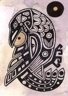 """""""Raven Steals the Sun"""" is based off of the Haida mythof the raven who steals the sun and created sunlight for the world."""