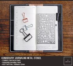 Iconography Metal Journaling Stencil Ruler