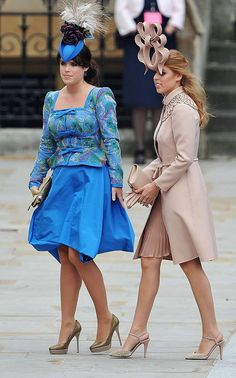 This one is just for fun...Princesses Eugenie and Beatrice...lovely women I'm sure, but they  look like the wicked sisters from Cinderella with their silly hats and the whole get up.