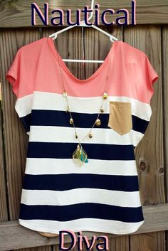 """DIY sewing tutorial Alida Makes: """"Nautical Diva"""" Color Block Shirt Tutorial Wonder if this would work with reducing plus sized clothes. Look Fashion, Diy Fashion, Ideias Fashion, Fashion Sewing, Jeans Fashion, Urban Fashion, Fashion Clothes, Fashion Women, Latest Fashion"""