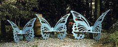Handcrafted Butterfly Benches - Available in three sizes and two colors Verdi or Periwinkle.