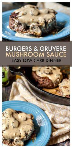 Gruyere Mushroom Sauce (low carb) Burgers & Gruyere Mushroom Sauce (low carb) - Only net carbs for each huge burger!Burgers & Gruyere Mushroom Sauce (low carb) - Only net carbs for each huge burger! Keto Burger, Low Carb Burger, Burger Recipes, Low Carb Keto, 7 Keto, Hamburger Meat Recipes, Burger Buns, Fish Recipes, Seafood Recipes