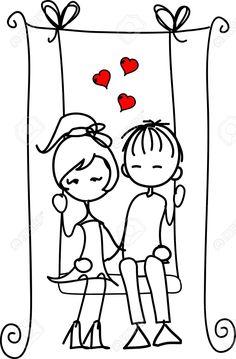 Illustration of Valentine doodle boy and girl vector art, clipart and stock vectors. Valentine Doodle, Valentines Art, Pencil Art Drawings, Doodle Drawings, Image Digital, Stick Figures, Couple Art, Art Sketchbook, Line Drawing