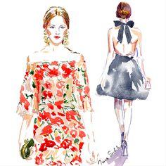 Marchesa illustration by Irina Sibileva  #Marchesa #fashionillustrator #IrinaSibileva #IrinaSibilevaDraws