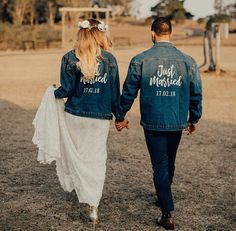 Just Married denim jacket custom jacket wedding jacket custom wedding gift wedding shower gift bridal shower gift jean jacket bride Custom Wedding Gifts, Gift Wedding, Wedding Things, Top Wedding Trends, Wedding Ideas, Wedding Jacket, Bridal Shower Gifts, Just Married, Wedding Bells
