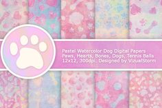 Pastel Watercolor Dog Patterns by VizualStorm on @creativemarket